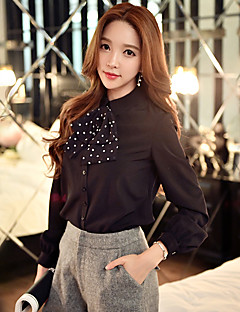 Women's Going out /Daily / Work Vintage / Sophisticated ShirtSolid / Polka Dot Shirt Collar Long Sleeve
