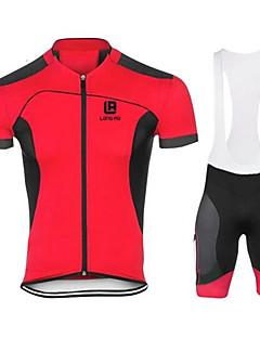 חולצת ג'רסי ומכנס קצר ביב לרכיבה בגדי ריקוד גברים שרוולים קצרים אופניים מדים בסטיםייבוש מהיר עיצוב אנטומי עמיד אולטרה סגול לביש נושם נגד