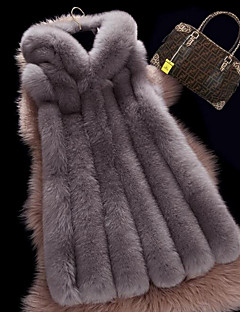 Women's Plus Size Street chic Fur CoatSolid Hooded Sleeveless Fall / Winter Brown / Gray Faux Fur Thick Fur Vest