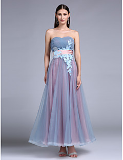 Prom Formal Evening Dress - Color Block A-line Sweetheart Floor-length Tulle with Appliques