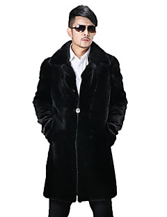 Men's Casual/Daily / Formal Vintage / Street chic Coat Solid Peaked Lapel Long Sleeve Winter Black Faux Fur Thick