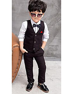 Boy's Formal Solid Vest / Clothing SetCotton Spring / Fall Green / Red / White