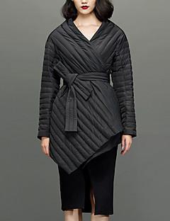 Damen Daunen Mantel,Standard Einfach Lässig/Alltäglich Solide-Nylon Weiße Entendaunen Langarm Schwarz V-Ausschnitt