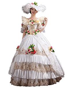 /שמלותחתיכה אחת לוליטה גותי לוליטה קלאסית ומסורתית Steampunk® ויקטוריאני Cosplay שמלות לוליטה פרחוני 3/4-אורך שרוול ארוך שמלה כובע לכותנה
