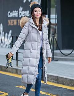 Manteau Doudoune Femme,Longue simple Décontracté / Quotidien Couleur Pleine-Coton Polypropylène Manches Longues Capuche