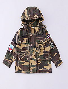 Boy's Casual/Daily Patchwork Trench CoatCotton Spring / Fall Green