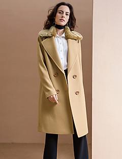 Damen Solide Einfach Ausgehen Mantel,Winter Gekerbtes Revers Langarm Blau Mittel Polyester