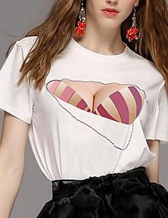 Naisten Lyhythihainen Pyöreä kaula-aukko Puuvilla Yksinkertainen Bile T-paita,Geometrinen Valkoinen