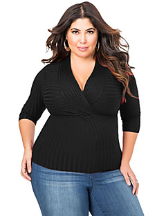 Women's Deep V Fitted Rubbed Knit Plus Size Top