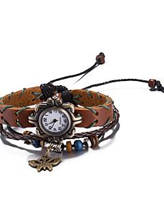 Unisex Moteklokke Armbåndsur Vannavvisende Quartz Lær Band Vintage Bohemsk Armring Brun