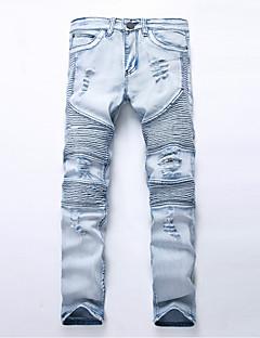 Herren Gerade Jeans Hose-Lässig/Alltäglich Einfach einfarbig Mittlere Hüfthöhe Reisverschluss / Knopf Baumwolle Micro-elastisch