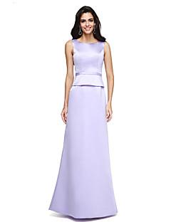 A-Şekilli Taşlı Yaka Yere Kadar Saten Resmi Akşam Elbise ile Kurdeleler tarafından TS Couture®