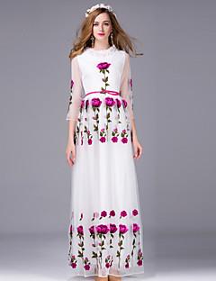 여성 칼집 드레스 캐쥬얼/데일리 시누아즈리 자수장식,라운드 넥 맥시 짧은 소매 화이트 그외 가을 중간 밑위 신축성 없음 중간