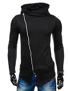 Hoodie Jacket Homme Décontracté / Quotidien Actif simple Couleur Pleine Micro-élastique Coton Manches Longues Printemps