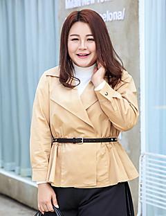 Damen Solide Einfach Lässig/Alltäglich / Arbeit / Übergröße Trenchcoat,Winter V-Ausschnitt Langarm Braun Mittel Polyester