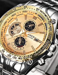 גברים שעון יד קווארץ לוח שנה מתכת אל חלד להקה מגניב יוקרתי שחור כסף זהב שחור שחור/לבן