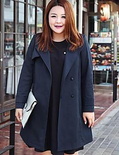 Damen Solide Einfach Lässig/Alltäglich / Übergröße Trenchcoat,Herbst / Winter Quadratischer Ausschnitt Langarm Blau / Rosa Mittel