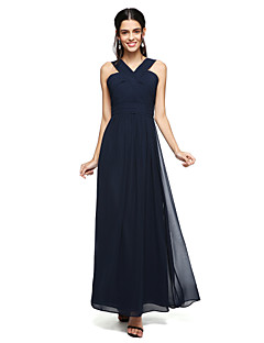 2017 Lanting Bride® Floor-length Chiffon Open Back Bridesmaid Dress - A-line Straps with Criss Cross / Ruching