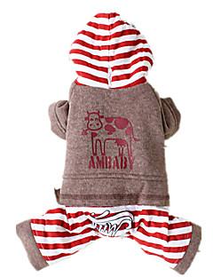 Cães Macacão Vermelho / Cinzento / Beje Roupas para Cães Inverno / Primavera/Outono Animal Mantenha Quente