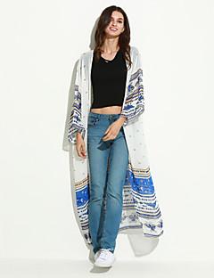 Damen Hahnentrittmuster Sexy Strand Mantel / Capes,Kapuze Sommer Ärmellos Weiß Polyester Dünn