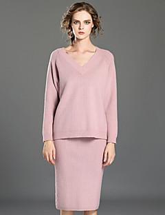 Langærmet V-hals Medium Dame Rosa / Brun Ensfarvet Vinter Vintage Casual/hverdag Sæt Skjørte Suits,Uld / Bomuld