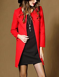 Feminino Casaco Para Noite / Casual Simples / Moda de Rua Outono / Inverno, Sólido Rosa / Vermelho / Laranja Lã / Poliéster Decote Redondo