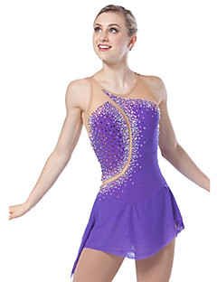Ice Skating Dress Women's Sleeveless Skating Dresses High Elasticity Figure Skating Dress Breathable / Comfortable Lace Elastane Purple