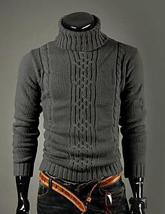 Normal Pullover Fritid/hverdag Vintage Enkel Herre,Ensfarget Rullekrage Langermet Ull Vinter Tykk Elastisk