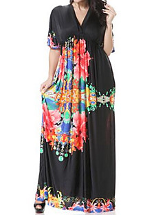 Women's Going out / Beach / Holiday Simple / Active Loose Dress,Polka Dot / Galaxy / Color Block V Neck Maxi Sleeveless Black Polyester