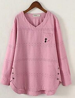 Women's Going out Sexy Regular Pullover,Solid Blue Pink White Round Neck Long Sleeve Cotton Fall Medium Micro-elastic