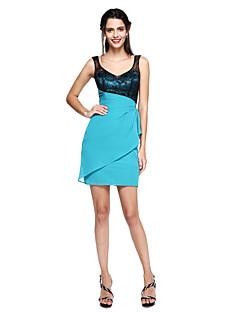 TS Couture® Soirée Cocktail Robe - Mini Moi Fourreau / Colonne Bretelles Courte / Mini Mousseline de soie / Dentelle avec Pan drapé