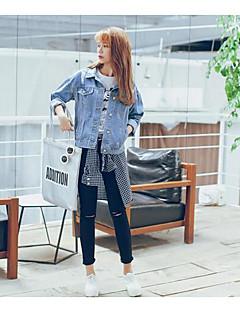 Damen Solide Sexy Strand Jeansjacken Langarm Blau Baumwolle