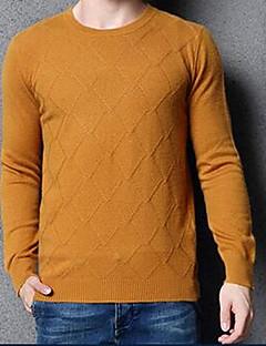 Masculino Padrão Pulôver,Casual Simples Sólido Colorido Decote Redondo Manga Longa Lã / Algodão Outono / Inverno Média Micro-Elástica