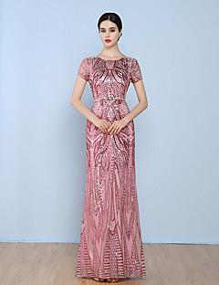 Sheath / Column Jewel Neck Floor Length Tulle Sequined Formal Evening Dress with Sequins