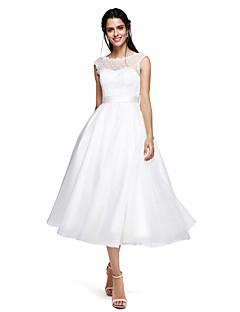 TS Couture 포멀 이브닝 드레스 - 오픈 백 볼 드레스 쥬얼리 종아리 길이 튤 와 리본 허리끈/리본