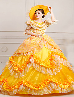 One-Piece/Dress Gothic Lolita Steampunk® / Victorian Cosplay Lolita Dress Yellow Vintage Long Sleeve Long Length Hat For WomenSatin /