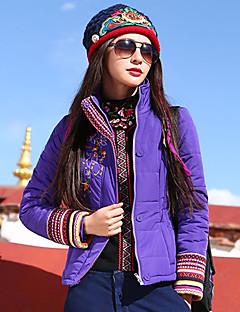 Damen Gefüttert Mantel Boho Lässig/Alltäglich Übergröße Stickerei-Polyester Polyester Langarm Hemdkragen