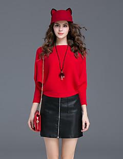Damen Solide Einfach Lässig/Alltäglich Rock Anzüge,Rundhalsausschnitt Herbst / Winter Langarm Rot / Grau Polyester