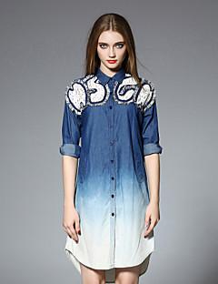 Damen Lose Kleid-Lässig/Alltäglich Einfach Einfarbig Hemdkragen Übers Knie ½ Länge Ärmel Blau Baumwolle Herbst Mittlere Hüfthöhe