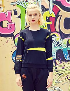 Damen Pullover Lässig/Alltäglich Sport Aktiv Einfach Buchstabe Stickerei Rundhalsausschnitt Mikro-elastisch Baumwolle Elasthan Langarm