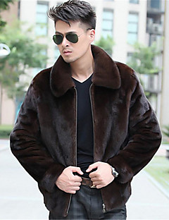 Men's Casual/Daily Simple Coat,Solid V Neck Long Sleeve Winter Black / Brown Faux Fur Thick