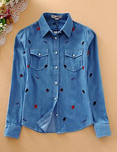 Mujer Simple Casual/Diario Primavera / Otoño Camisa,Cuello Camisero Bordado Manga Larga Algodón Azul