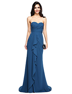 LAN TING BRIDE Sweep / Brush Train Sweetheart Bridesmaid Dress - Elegant Sleeveless Chiffon