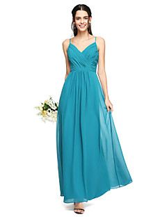 2017 Lanting Bride® Floor-length Chiffon Open Back Bridesmaid Dress - Spaghetti Straps with Criss Cross
