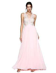 A-Şekilli V-Yaka Yere Kadar Şifon Balo Resmi Akşam Elbise ile Aplik Pileler tarafından TS Couture®