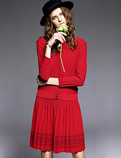 AGD Women's Casual/Daily Vintage Winter Set Skirt SuitsSolid Round Neck Long Sleeve Red Cashmere / Wool Medium