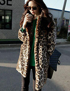 Dámské Leopard Běžné/Denní Jednoduché Kožich-Umělá kožešina Dlouhý rukáv Hnědá