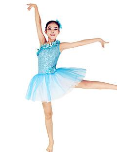 Danse classique Robes Femme Enfant Spectacle Elasthanne Polyester Paillété Tulle Bloc de Couleur 2 Pièces Sans manche Taille basseRobe