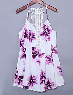 קיץ פוליאסטר לבן ללא שרוולים מיני קולר פרחוני סקסי יום יומי\קז'ואל שמלה נדן נשים