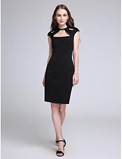 LAN TING BRIDE באורך  הברך עם תכשיטים שמלה לשושבינה - שמלה שחורה קטנה ללא שרוולים ג'רסי